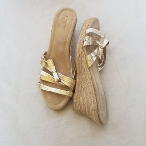 J. CREW gold wedges slip on shoes size 9